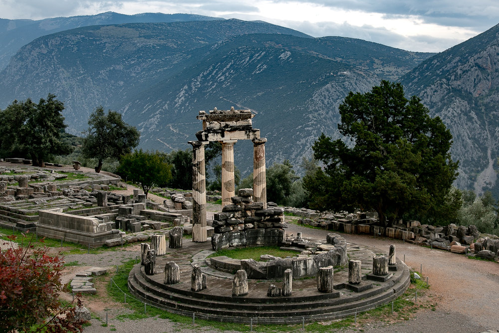 Ruins of the Sanctuary of Pallas Athene in Delphi, Greece.