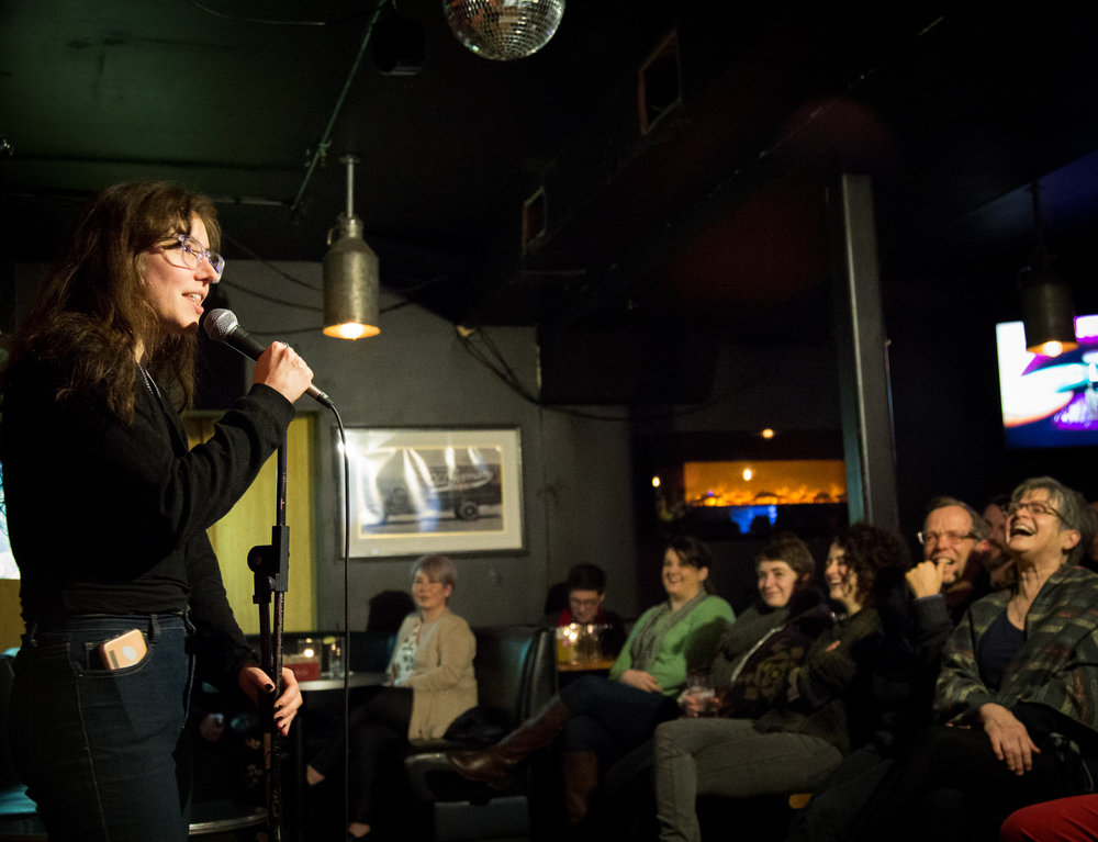 Standup comedian entertains a Portland, Oregon crowd (for SF Chronicle).