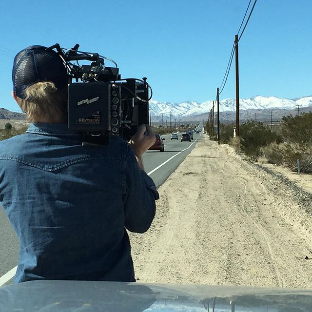 DP @benfischinger snagging some beautiful shots of the snow covered mountains on the way home from Joshua Tree.  #filmmaking #shortfilm #roadtrip #indiefilm #camping #nature #arri #joshuatree