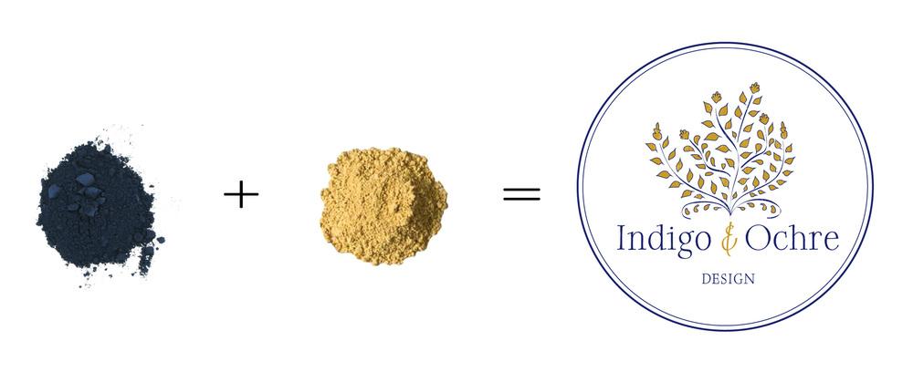 indigo + ochre = logo