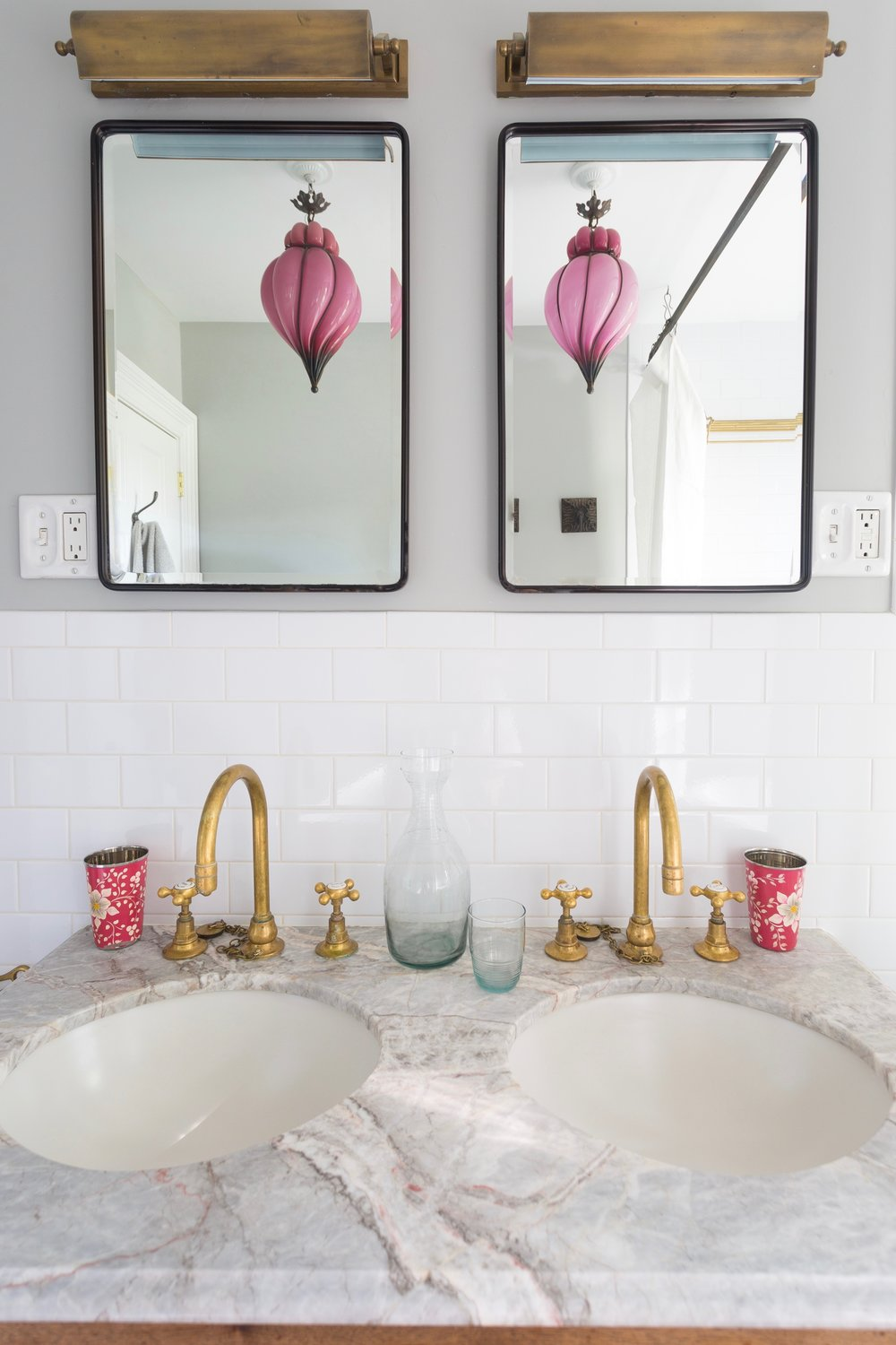Indigo & Ochre Design Prospect Heights Bathroom Vanity Mouthblown Light Reflection