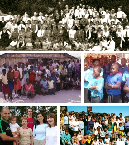 A number of summer and winter schools from different periods and parts of the world, clockwise from top: Summer school in the United States of America, 1928; participants at an annual music festival in the Democratic Republic of the Congo, 2009; Bahá'í Summer School in Greenland,1991; participants at a Bahá'í summer school in Slovakia, 2004; Bahá'í summer school in Namibia 1983.