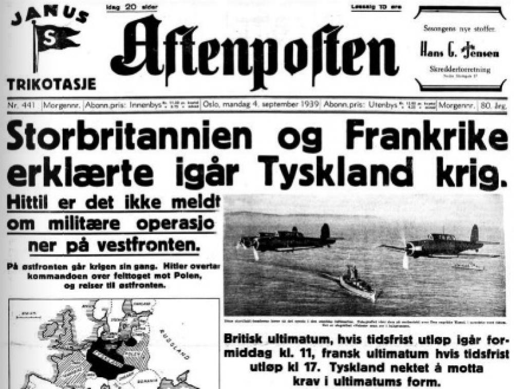 Aftenposten 4. september 1939