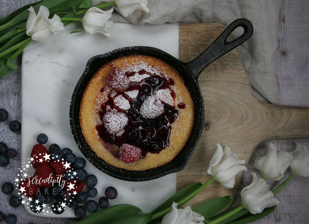Souffl skillet pancake with blueberry compote serendipity bakes souffl skillet pancake with blueberry compote ccuart Choice Image