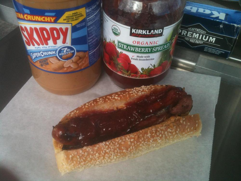 Peanut Butter and Jelly Bacon Hot Dog