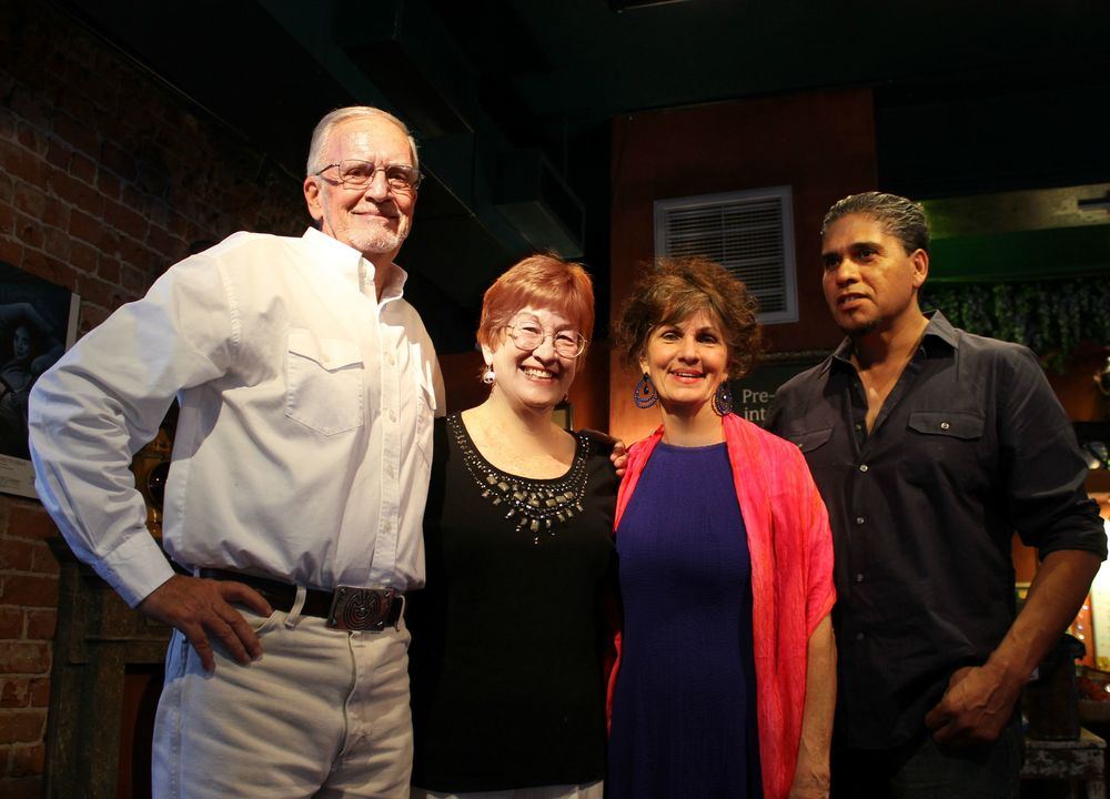Fantastic afternoon Aug. 15, 2015 at The Haunting of the Mexican Border book launch. We sold out of books! More at Antigone Books on 4th Avenue in Tucson. Photo by Paige Hilman: Guest speaker John Fife, Annalee Gault, Kathryn Ferguson, reader Baldemar Peralta.