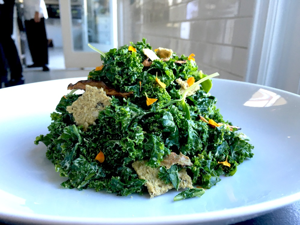 "Kale caesar salad // dulse crouton / shiitake ""anchovies"" / sunflower caesar dressing"