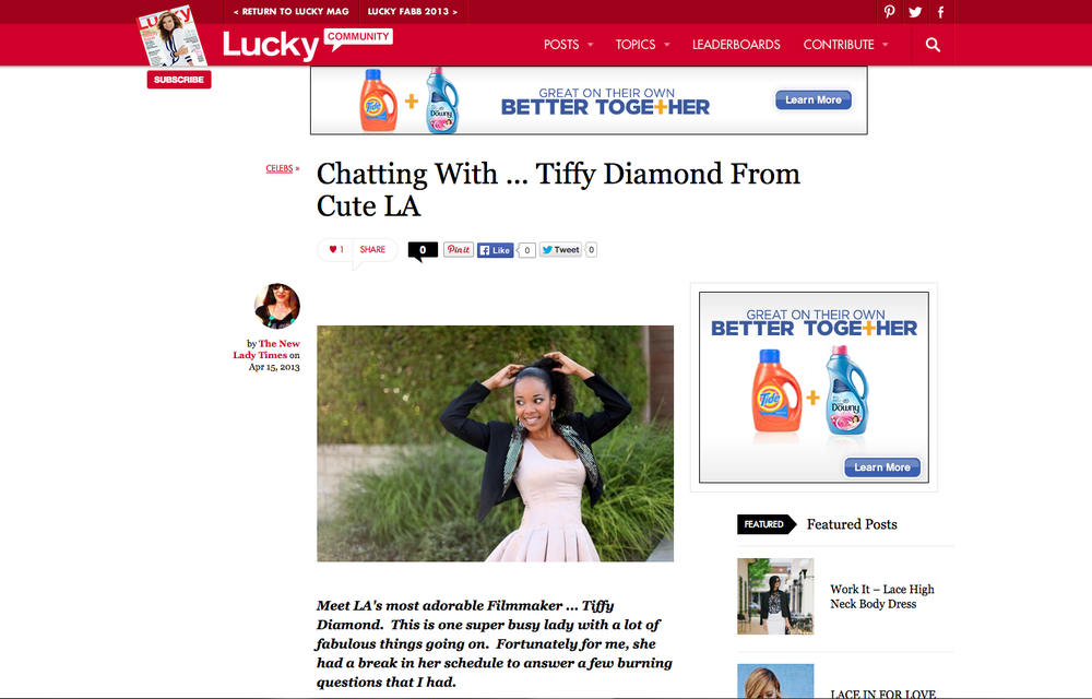 Interview with Lucky Magazine Community. Read it  here .