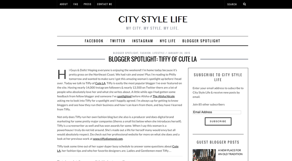 Interview with City Style Life. Read it  Here .