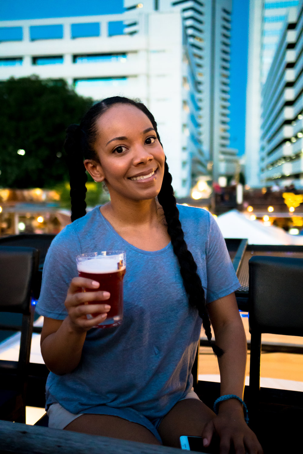 Enjoying a Beer at Ratchada Night Market