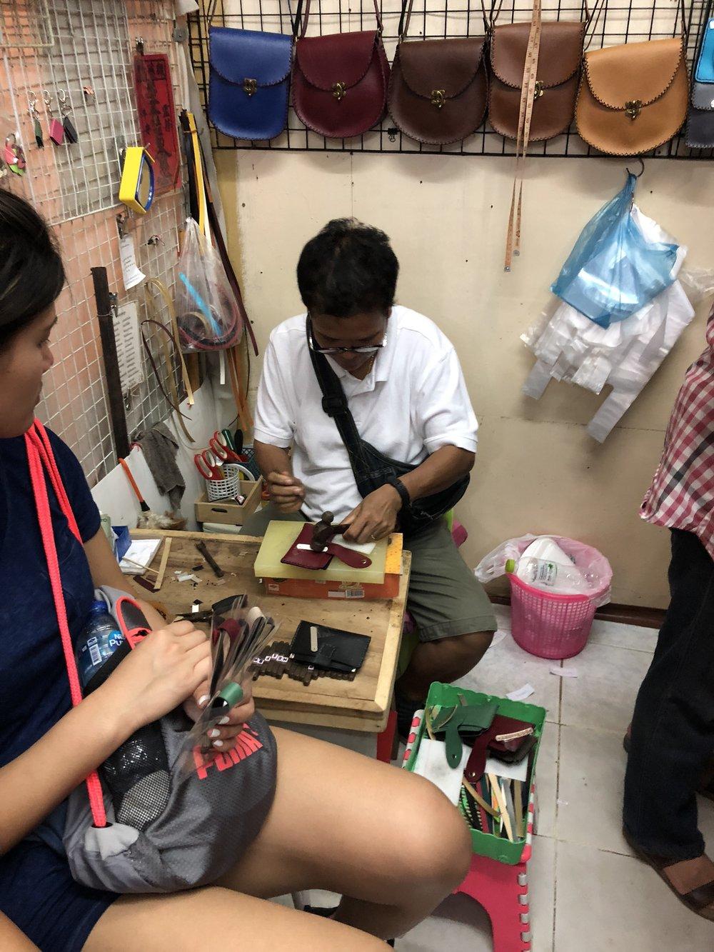 Getting custom wallets at Chatuchak Weekend Market
