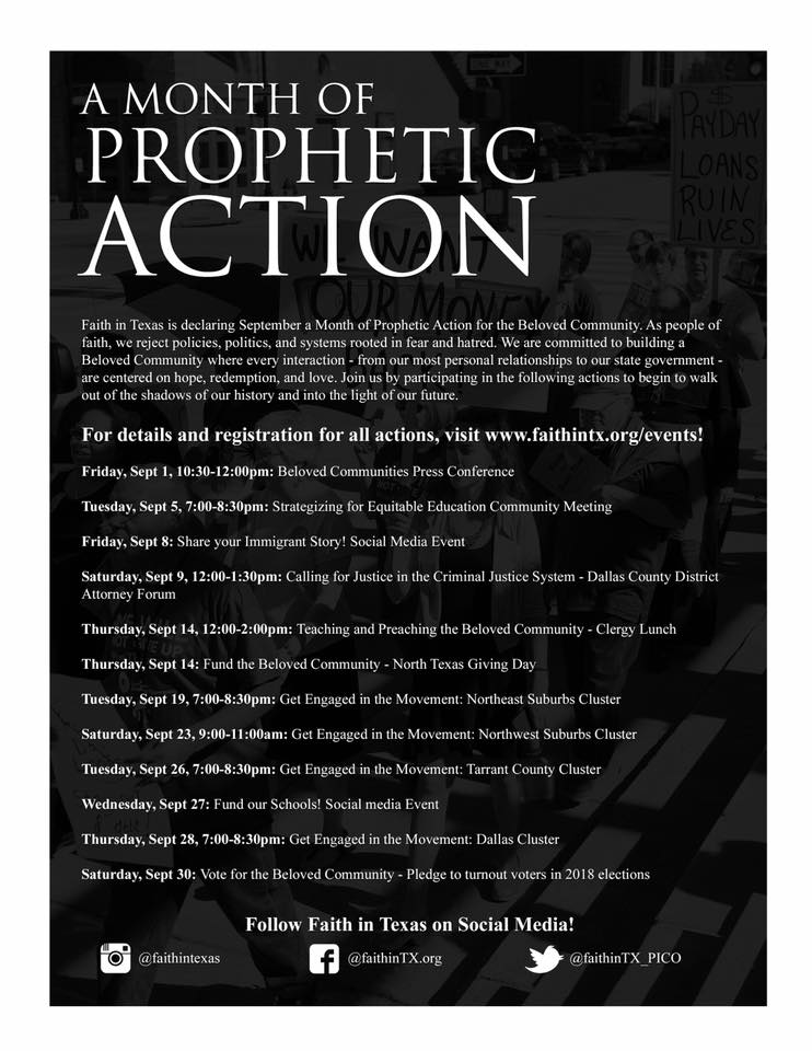 Click here  to for information about any of this month's events and to reserve your spot in the movement for justice!