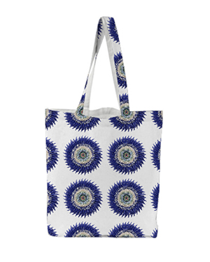 Flower Power Tote - Blue Grid