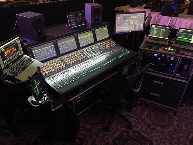 Wrapping up a week in Miami of show evenings with corporate mornings.  Provided a redundant playback rig and @wavesaudio soundgrid network.  A fresh @avidtechnology S6L on its native voyage from @lmgtouring plus a slick @db_audiotechnik V Rig.  #motu #qlab #figure53 #waves #serverone #mgb #S6L #Avid #frontofhouse
