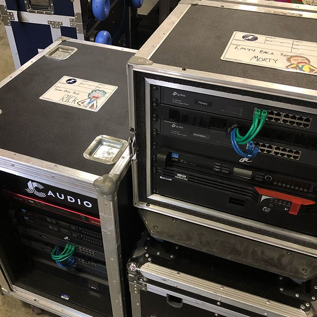 """D R I V E @lakeprocessing LM44 System processing racks over redundant Dante networks with @wearefocusrite D16R interfacing. """"Rick"""" for the main drive with """"Morty"""" being used for delays.  #audio #systemprocessing #systemengineer #Lake #LM44 #focusrite #D16R #frontofhouse"""