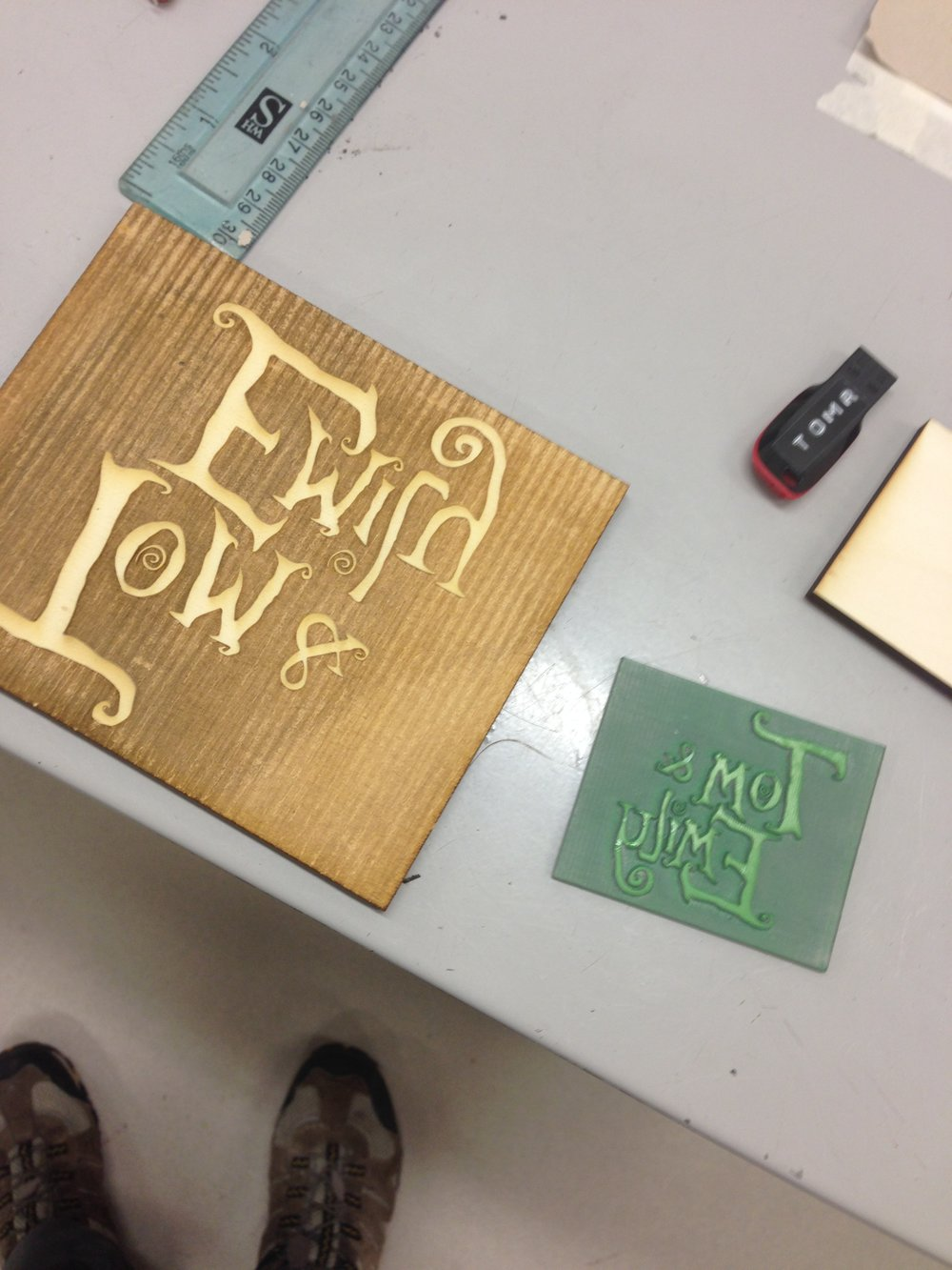 Laser cut and etched stamps in rubber and wood - created in illustrator.
