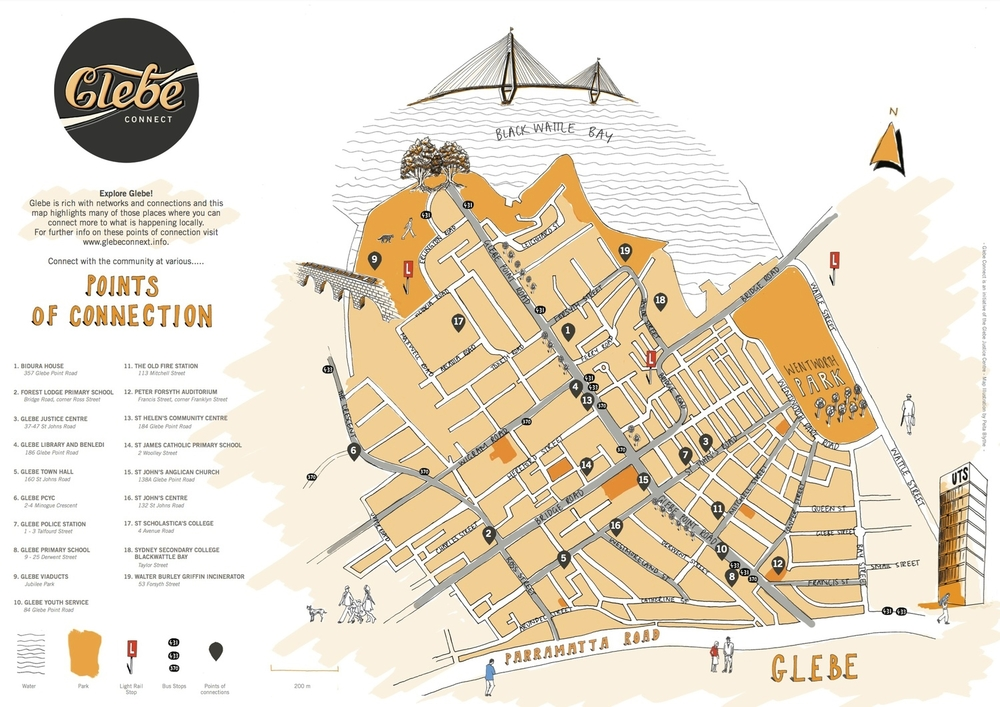 + Side A - Illustrated map of Glebe that highlights the community services available in the area