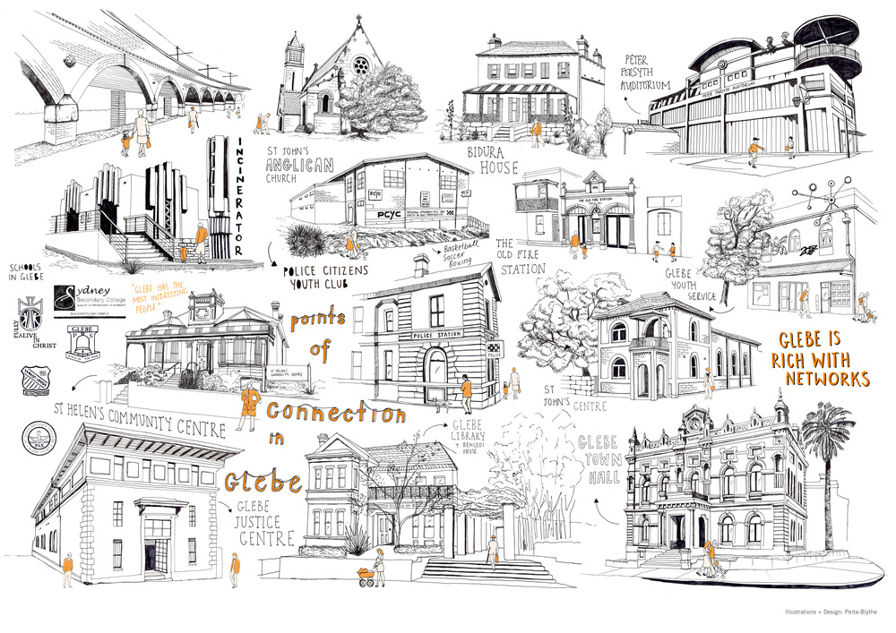 + Side B - Poster illustrating all thebuildings that aremarked on the map on the opposite side