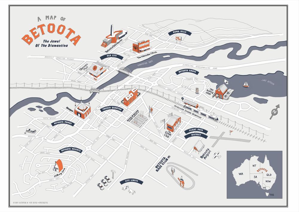 Final Betoota Map Illustration