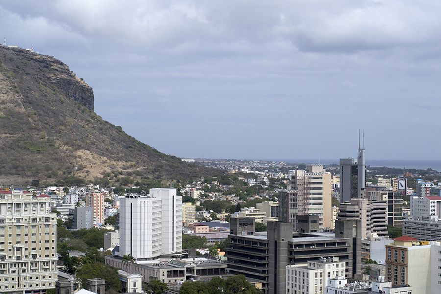 The business and commerce district of the capital city of Port Louis