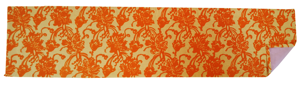 "Poppies, orange on beige linen table runner, 75"" x 16"""