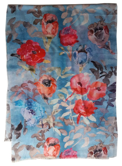wc3. Watercolor Blue Wash Roses