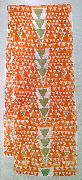 18. Triangles orange with copper green