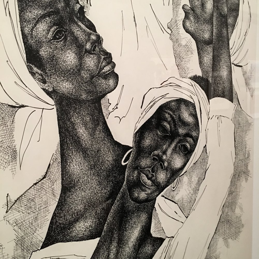 Dance composition No. Xl  by Eldzier cortor. his sketches were breathtaking: The shading, cross hatching, how he captured the black female form, absolutely gorgeous
