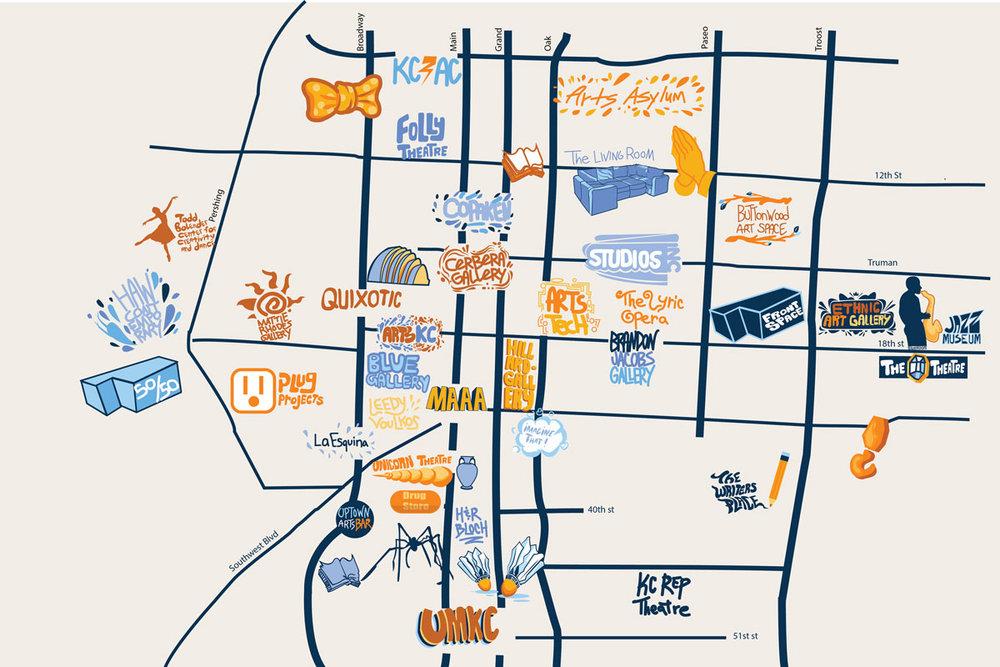 Map designed for downtown arts walk, JT Daniels 2018