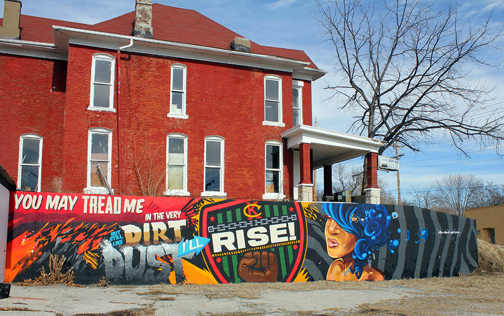 RISE, Collaborative Mural, 5th & Troup, KCK 2014