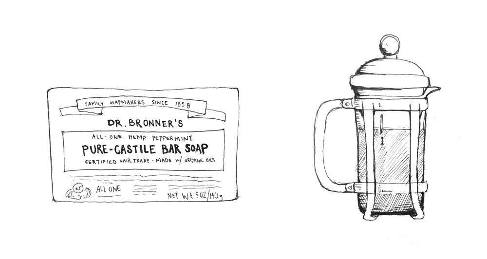 Dr Bronner's Bar Soap  is amazing because not only is it certified fair trade, but the packaging can be recycled!   French Press 's don't use paper filters and the coffee grounds can be composted. Whoop Whoop.
