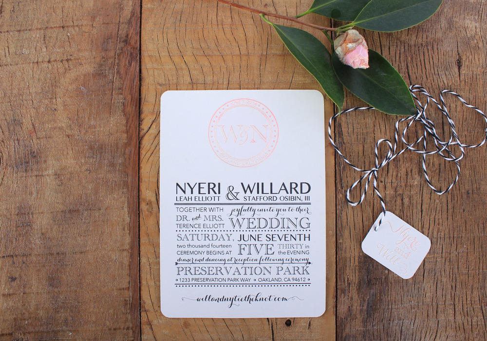 vintage invitation with custom monogram embossed