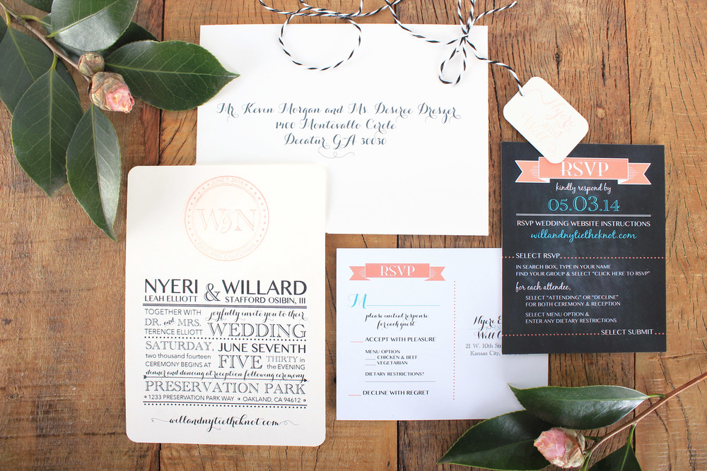 vintage chalkboard inspired wedding invitation
