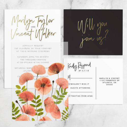 Pressed Flowers Wedding Invitations Desiree Dreszer Design Create