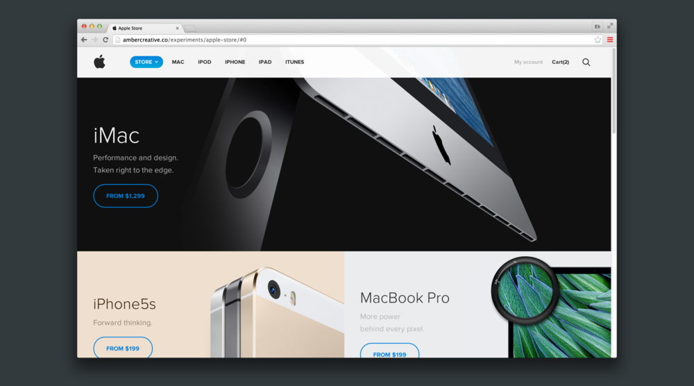 Amber Creative's redesign of the Apple Store website.