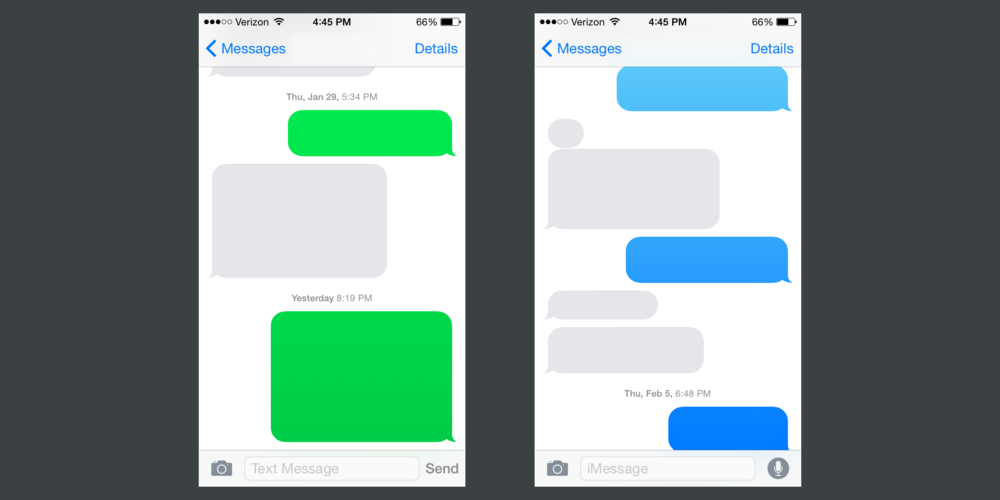On the left is what shows up when iPhone users text Android users. On the right is how iMessages are displayed.