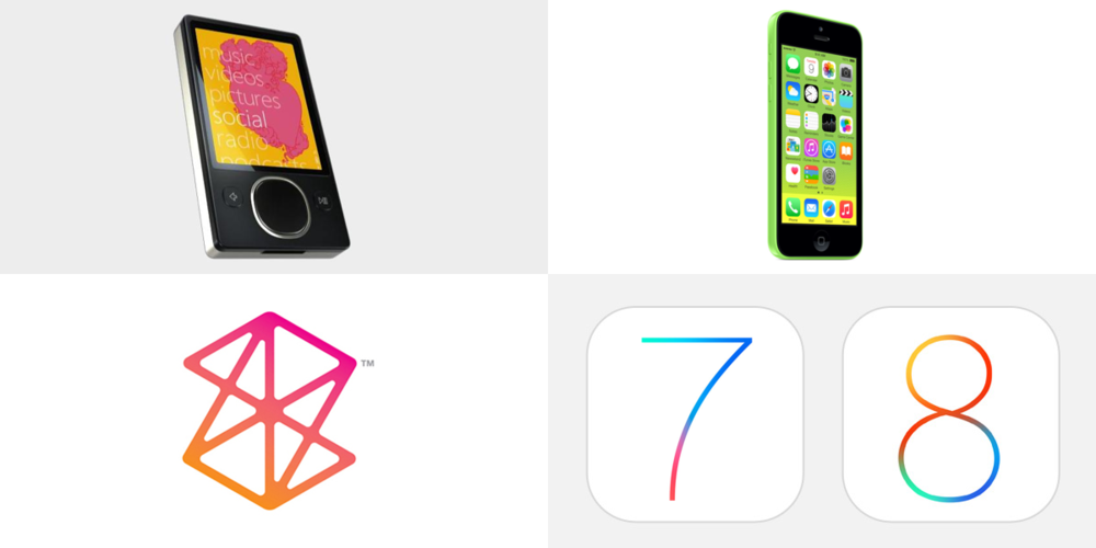 Giving credit where it's due, Apple's Marketing and Communications department, the team responsible for the aesthetic coup of iOS 7, was late to the garish colors party. Microsoft had been using similar colors on their Zune platform many years earlier, in 2006.