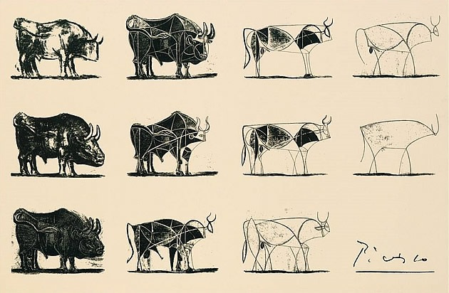 "Picasso, Bull Lithographs (1945). Apple uses this particular modern minimalist piece in their internal trainings for designers. The name of the training in reduction is, ""What Makes Apple, Apple."""