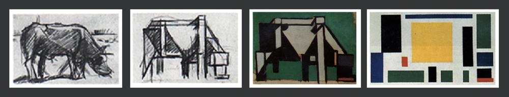 De Stijl painter Theo van Doesburg, Varius studies for The Cow (1917-1918)