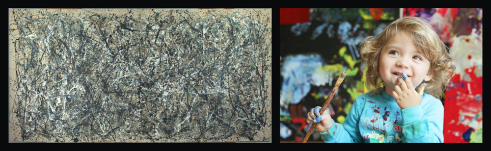Left: Jackson Pollock, One: Number 31, 1950. Right: Aelita Andre.