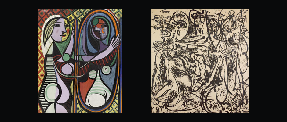 Andre's influence, Pollock, was himself  highly inspired  by Picasso's work. Left: Pablo Picasso. Girl Before a Mirror. 1932. Right: Jackson Pollock. Echo: Number 25, 1951.