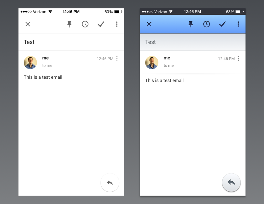 "On the left is how Google defines Material for their Inbox for iOS app. On the right is how truly expressive materials could look if they were not considered 'too heavy' by modern minimalists. It's particularly ironic because when describing negative space in application design, lead designer on Material Design, Nicholas Jitkoff  said  ""White space isn't necessarily white."""