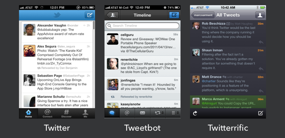 Twitter, Tweetbot and Twitteriffic all used to stand out from each other, and from their competition.
