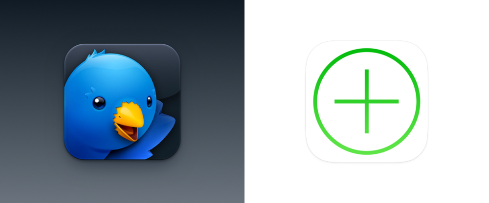 On the left is Iconfactory's traditional approach to icon design. On the right is an icon approached through the lens of iOS 7, in order to fit the modern minimalist aesthetic.