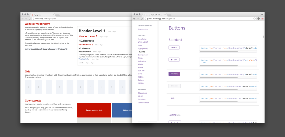 Preset CSS style guides for Yelp and Heroku.