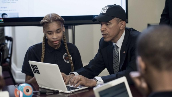 Obama trying out the brogrammer look.