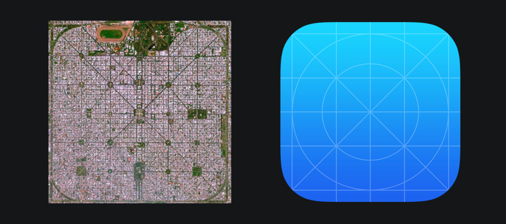 Could the urban planning of   La Plata   in Buenos Aires, Argentina have been an influence on the iOS icon grid?