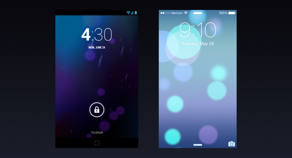 Android Jelly Bean lockscreen (2012) and iOS 7 lockscreen (2013).