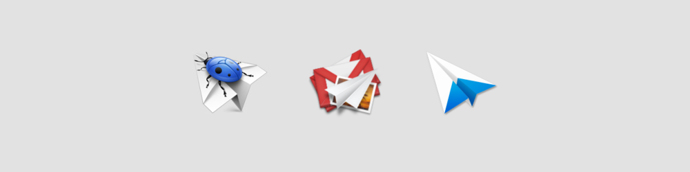 Smart Crash Reports by IconDrawer, MailPlane icon by Susumu Yoshida and Sparrow by Jean Marc Denis.