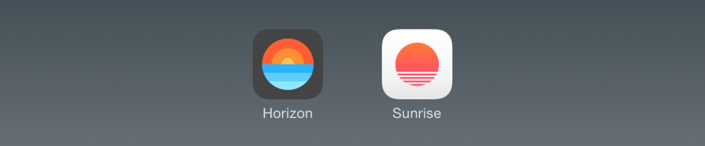 Calendar apps: Horizon (Jan. 2014) and Sunrise (May 2015). There really is nothing new under the sun.